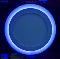 LED panel 12W+4W KRUG ugradna PLAVA