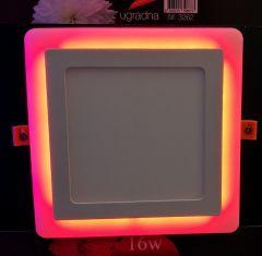 LED panel 12W+4W KOCKA ugradna CRVENA
