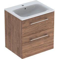 Ormarić GEBERIT Selnova Square 60cm FIOKE + lavabo TAMNI ORAH